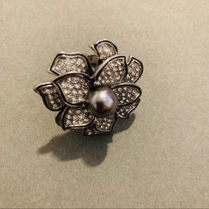 Oversized Silver Floral Ring Grey Faux Pearl
